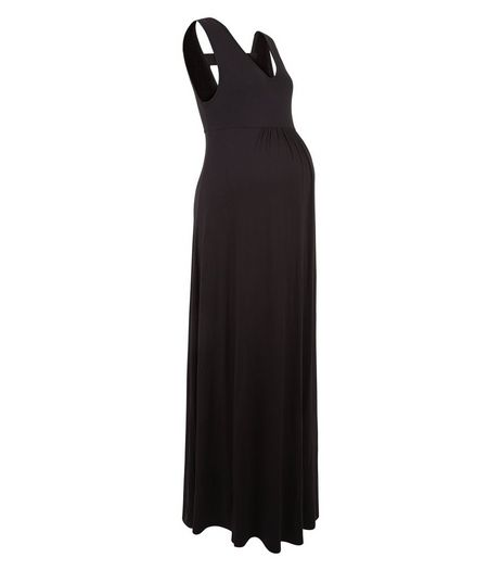 Maternity Black Bar Back Maxi Dress | New Look
