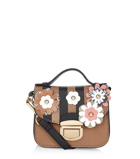 Black 3D Flower Stripe Mini Satchel | New Look