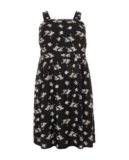 Curves Black Floral Print Pinafore Midi Dress | New Look