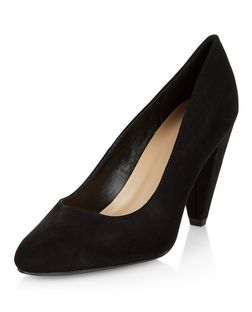 Wide Fit Black Suedette Block Heel Court Shoes  | New Look