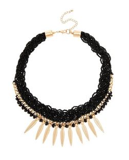Black Beaded Spike Necklace  | New Look