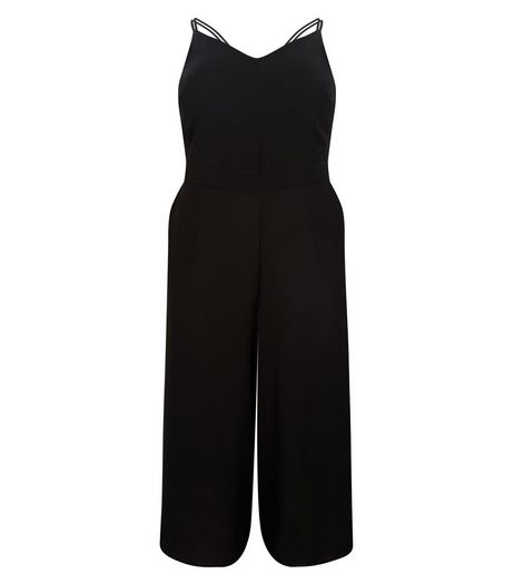 Curves Black Strappy Jumpsuit | New Look