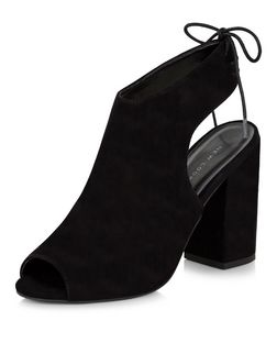 Black Peep Toe Tie Sling Back Block Heels  | New Look