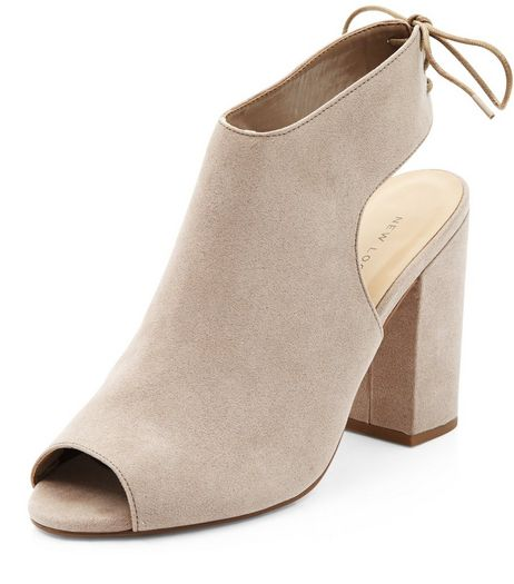 Light Brown Peep Toe Tie Sling Back Block Heels  | New Look