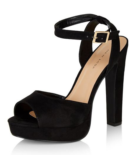 Black Suedette Ankle Strap Peep Toe Block Heels  | New Look