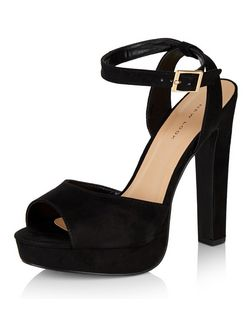 Black Suedette Ankle Strap Peeptoe Block Heels  | New Look