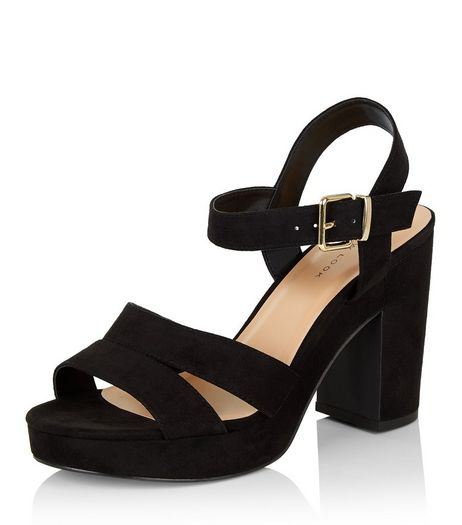 Black Suedette Ankle Strap Heels  | New Look