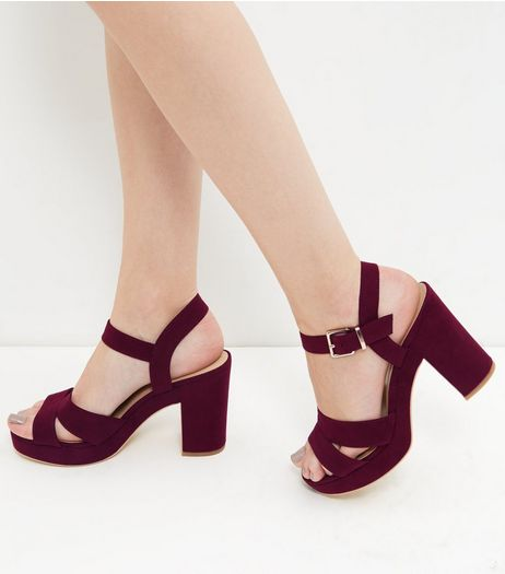 Dark Red Suedette Ankle Strap Heels  | New Look