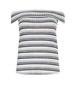Curves Blue Ribbed Stripe Bardot Neck Top  | New Look