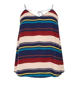 Curves Mutlicoloured Stripe V Neck Cami | New Look