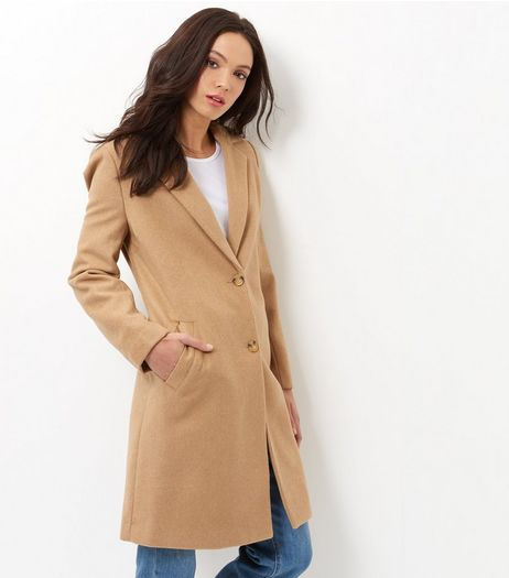 Camel Longline Coat  | New Look