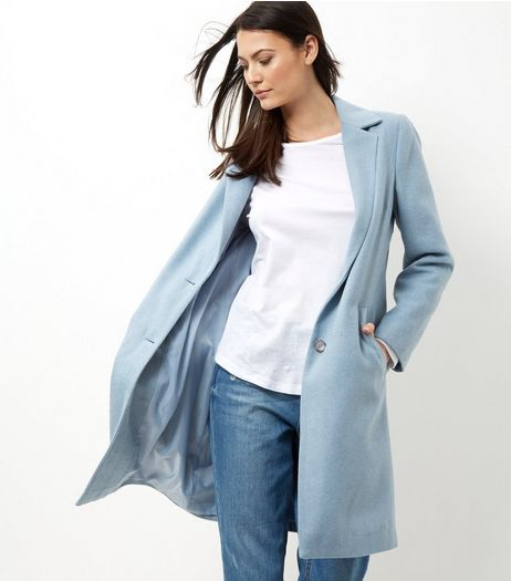 Blue Longline Coat | New Look