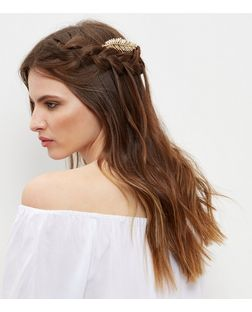 Gold Embellished Leaf Hair Slide | New Look