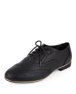 Wide Fit Black Leather-Look Brogues | New Look