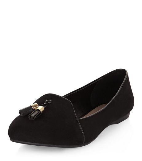 Wide Fit Black Suedette Tassel Front Slipper Shoes  | New Look