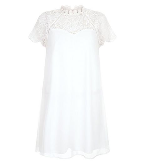 Girl in Mind Cream Lace Panel Swing Dress | New Look