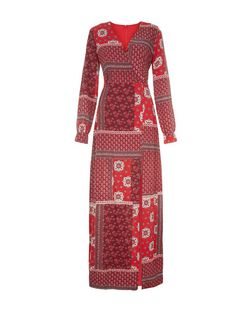 Girl in Mind Red Patchwork Print Split Front Maxi Dress | New Look