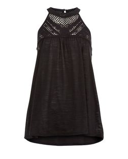 Black Crochet Panel High Neck Vest | New Look