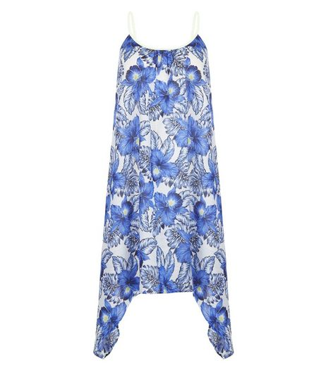 Blue Sheer Floral Print Hanky Hem Dress | New Look