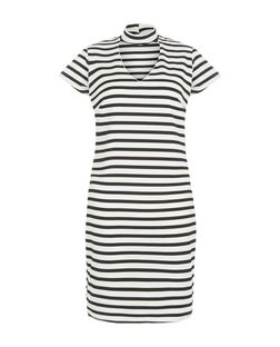 Blue Vanilla Black Stripe Cut Out Dress | New Look