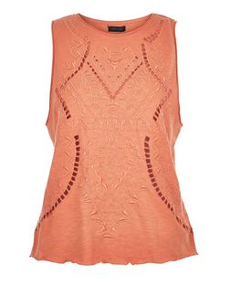 Coral Embroidered Cut Out Sleeveless Top  | New Look