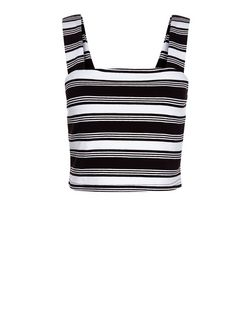 Black Stripe Pinafore Bralet  | New Look