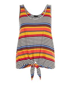Yellow Stripe Tie Front Sleeveless Top  | New Look