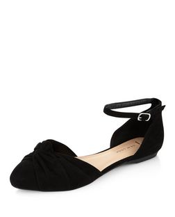 Wide Fit Black Knotted Front Ankle Strap Pumps  | New Look