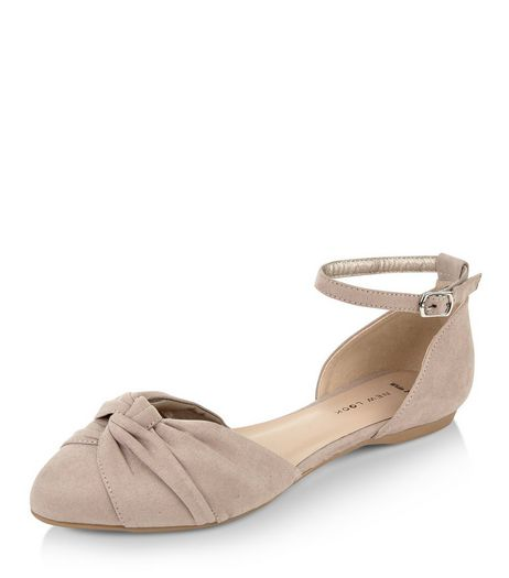 Wide Fit Light Brown Knotted Front Ankle Strap Pumps  | New Look
