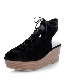 Black Suedette Contrast Ghillie Wedges  | New Look
