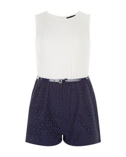 Girls Blue 2 in 1 Belted Playsuit | New Look