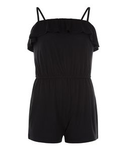 Girls Black Frill Trim Playsuit | New Look