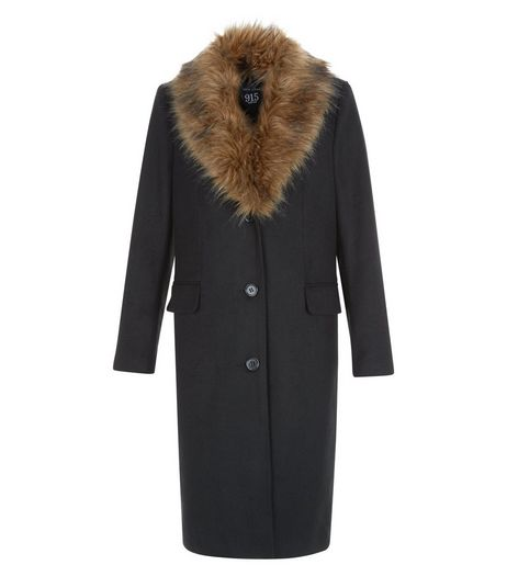 Teens Black Faux Fur Collar Coat | New Look