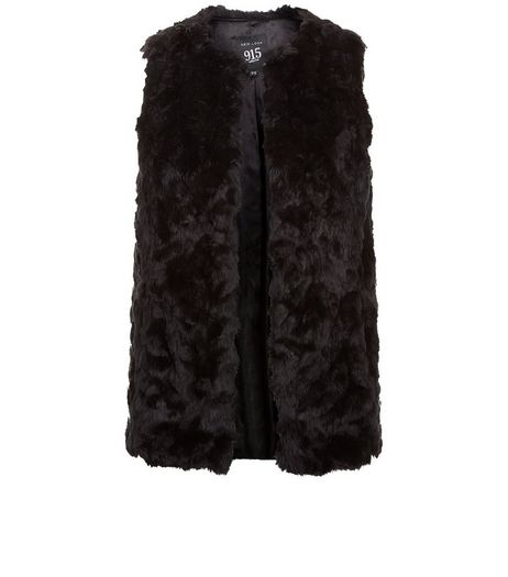 Teens Black Faux Fur Gilet  | New Look