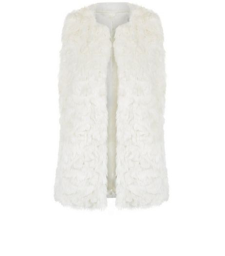 Teens Cream Faux Fur Gilet  | New Look