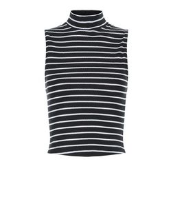 Teens Black Stripe Funnel Neck Cami  | New Look