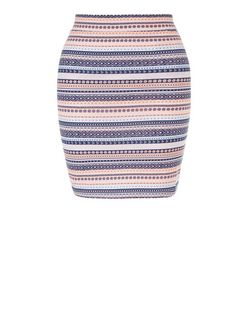 Teens White Stripe Aztec Print Tube Skirt | New Look