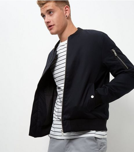 Navy Zip Sleeve Bomber Jacket | New Look