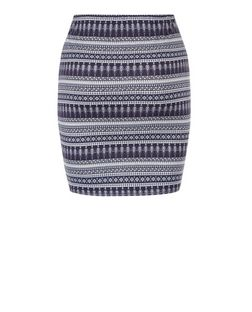 Teens Blue Abstract Stripe Print Tube Skirt | New Look