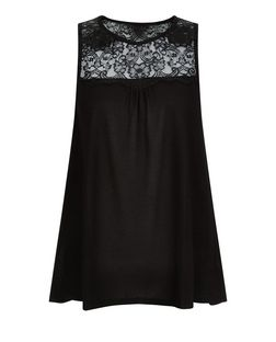 Black Lace Panel Vest  | New Look