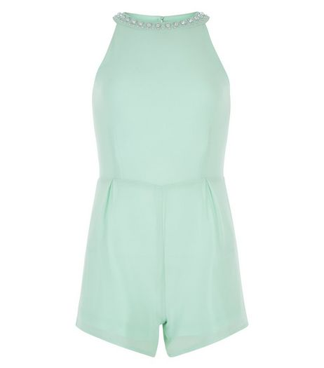 Girls Mint Green Embellished Neck Playsuit | New Look