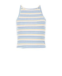 Blue Ribbed Multi Stripe Crop Top  | New Look