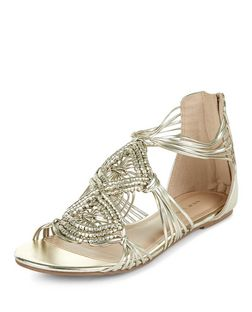 Gold Crochet Cut Out Sandals  | New Look