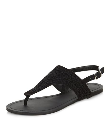 Black Embroidered Sling Back Sandals  | New Look