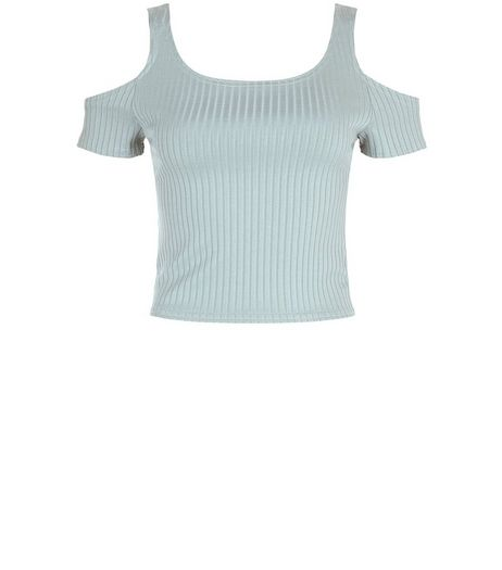 Light Green Ribbed Cold Shoulder Crop Top | New Look