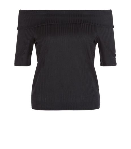 Black Ribbed Fold Over Bardot Neck Top  | New Look