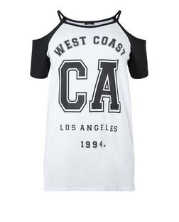 Curves Black West Coast CA Print Cold Shoulder Top | New Look