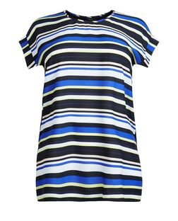 Curves Black Stripe T-Shirt | New Look