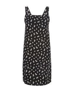 Black Floral Print Pinafore Mini Slip Dress  | New Look