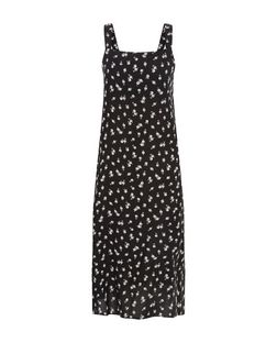Black Floral Print Pinafore Midi Slip Dress  | New Look